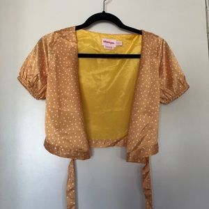 silk yellow polka dot wrap shirt